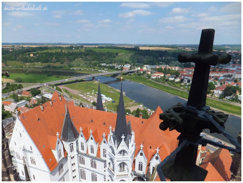 Über den Dächern von Meißen mit Blick zur Elbe